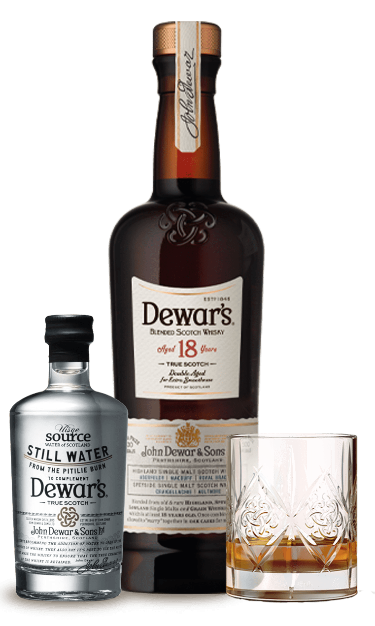 Pitilie Burn Water Serve with Dewar's 18 Year Old