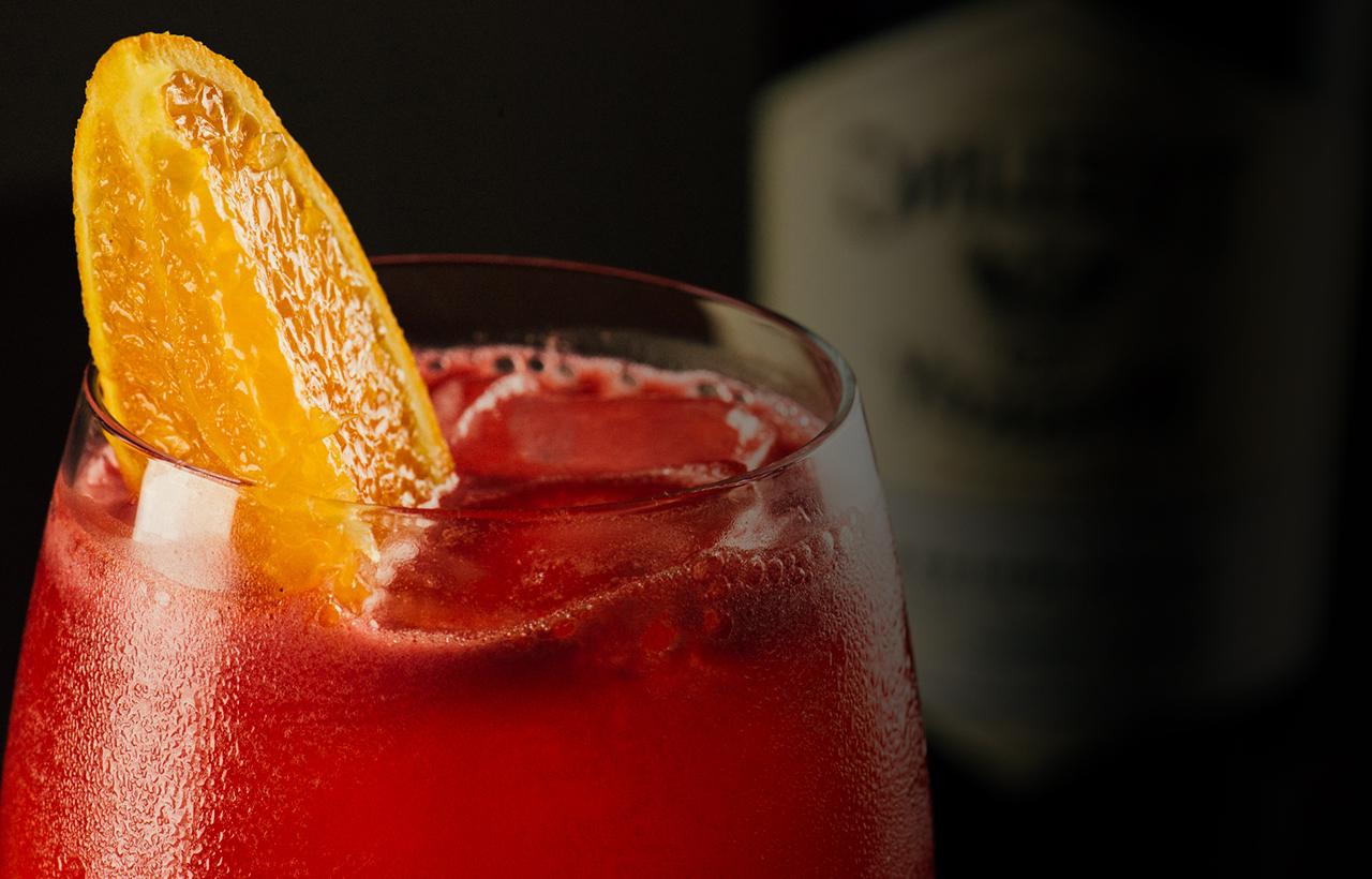 Blood orange whiskey smash